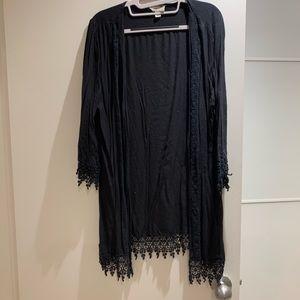 Black crochet kimono